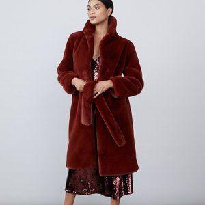 Allen Schwartz Greta Faux Fur Coat Wine Sz. M